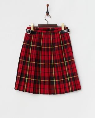 ブラック×レッド  キルト ラップスカート見る