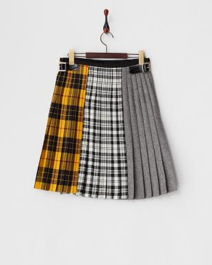 マスタード キルト マルチ柄ラップスカート見る