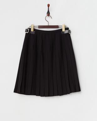 ブラック  キルト プリーツラップスカート見る