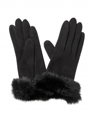 Black  ラビットファー手袋見る