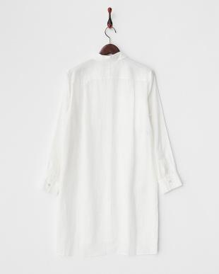 ホワイト リネンロングシャツ見る