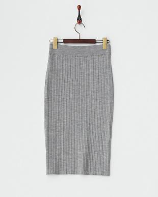 グレー リブ編みタイトスカート見る