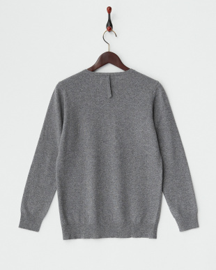 ライトグレー×ミィデアムグレー Vネック カシミヤ混切り替えセーター見る