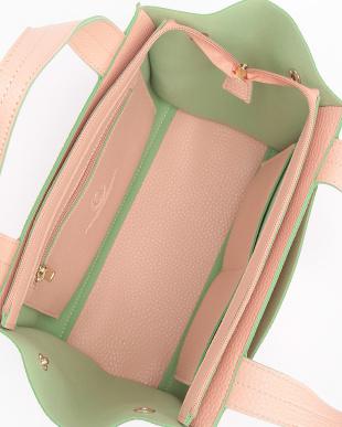 ピンク  レザー調トートバッグ見る