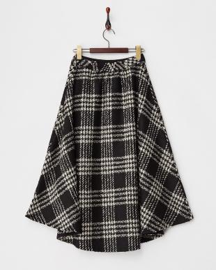 BLACK  チェックツイードフレアスカート見る