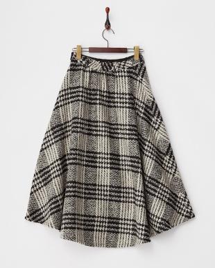 GRAY  チェックツイードフレアスカート見る