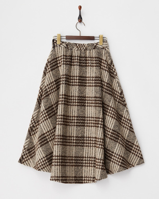 BROWN  チェックツイードフレアスカート見る