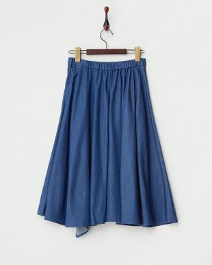 BLUE  テンセルデニムラップ風スカート見る