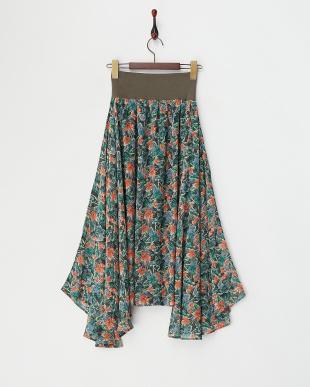 GREEN  ウエストリブ 花柄ハンカチーフヘムスカート見る