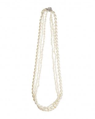 ホワイト/オフホワイト 淡水パールバロック&ドロップ 3連ネックレス見る