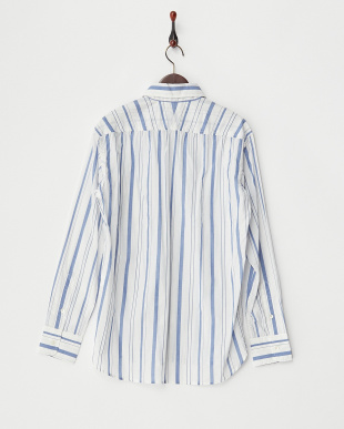 ブルー  綿ラミーストライプシャツ見る