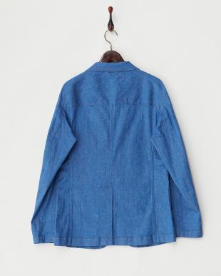 ブルー ストレッチデニム 2Bジャケット見る