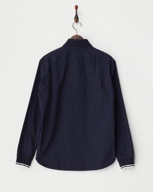 ネイビー  編み立て衿+リブシャツ見る