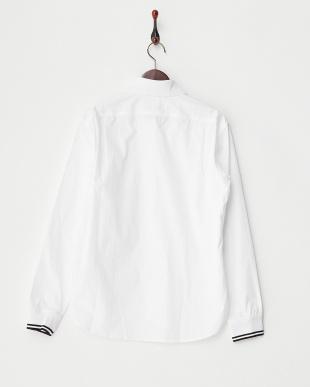 ホワイト  編み立て衿+リブシャツ見る