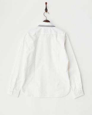 ホワイト  編みたて衿無地シャツ見る