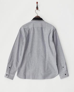 グレー  編みたて衿無地シャツ見る