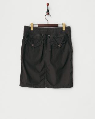 ブラック  綿カーゴリブ付ヒザ丈スカート見る