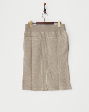 モカ  粗挽き杢ネップ裏毛 ヒザ丈スカート見る