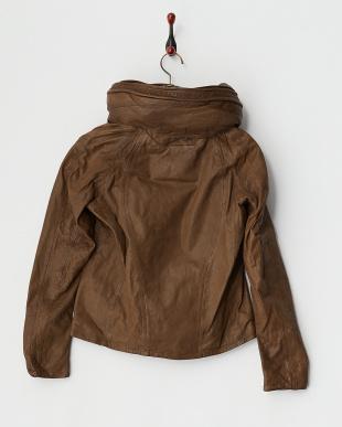 ブラウン  ゴートレザービッグフードジャケット見る