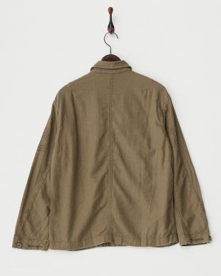 カーキ ヘリンボンミリタリー M-43シャツジャケット見る