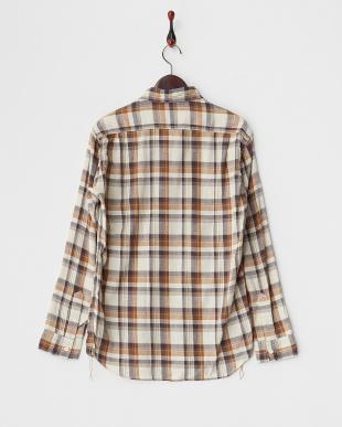 アイボリー  シルクネップチェック ベーシックシャツ見る