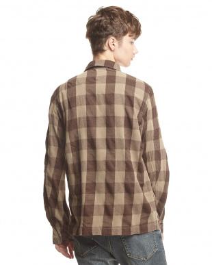 ブラウン  ブロックチェックネル M-43シャツ見る
