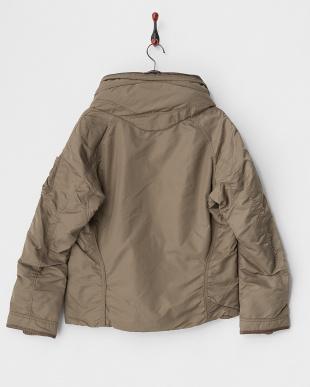 モカ  バイオウォッシュ クロゼットフード中綿入りジャケット見る