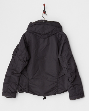ブラック  バイオウォッシュ クロゼットフード中綿入りジャケット見る