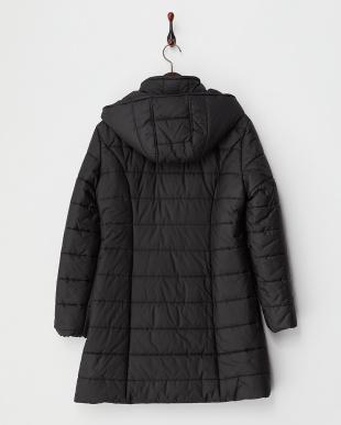 ブラック  フード付きスタンドカラー中綿コート見る