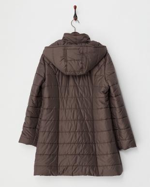 ブラウン  フード付きスタンドカラー中綿コート見る