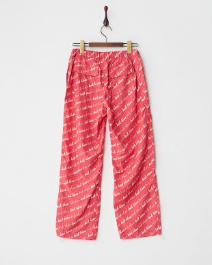 ピンク ロゴ総柄フルレングスボトム|WOMEN見る