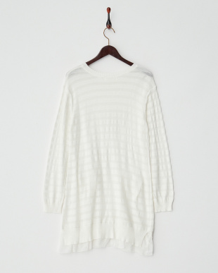 オフホワイト  裾フレアコットンニットチュニック|WOMEN見る