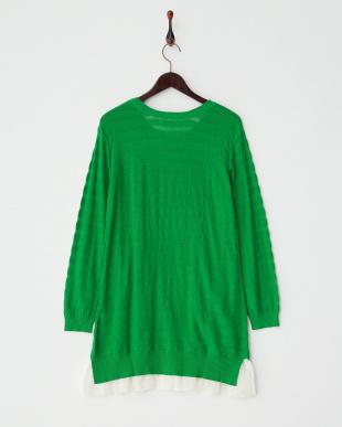グリーン  裾フレアコットンニットチュニック|WOMEN見る