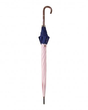ピンク×ネイビー バイカラー パゴダ雨傘|WOMEN見る