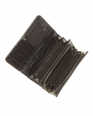 ブラック フラップ式長財布見る