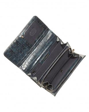 ネイビー フラップ式長財布見る