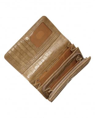 ベージュ フラップ式長財布見る