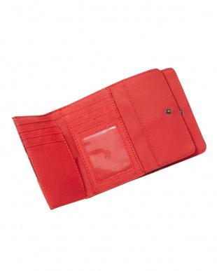 レッド バタフライ&ボタン三つ折り財布見る