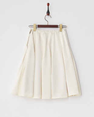 アイボリー タック入り光沢フレアスカート見る