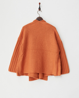 オレンジ  変わり編みストールカーディガン見る