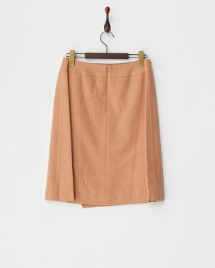 オレンジ ウール混ラップ風スカート見る
