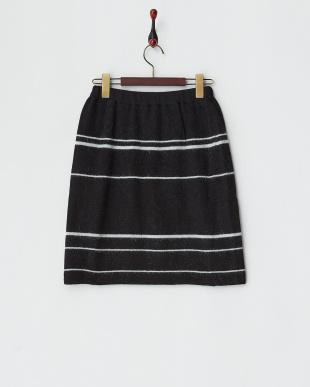 ブラック  アンゴラ混ボーダーニットスカート見る