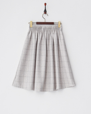 オフホワイト  ウィンドウペンギャザースカート見る
