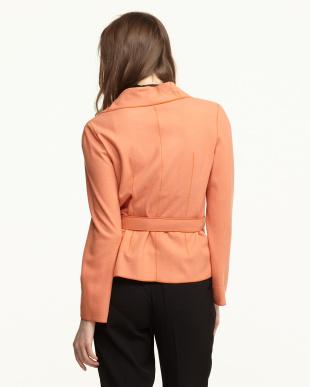 オレンジ ウールスムースベルテッドショートジャケット見る