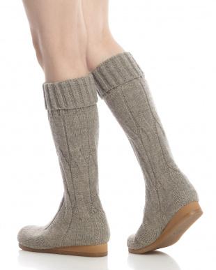 サンドグレー  縄編みシームレス ロングブーツ見る