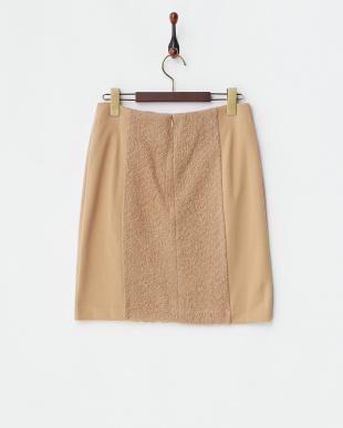 キャメル ジャカード切替ポンチタイトスカート見る