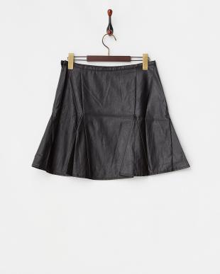 ブラック  フェイクレザーサーキュラースカート見る