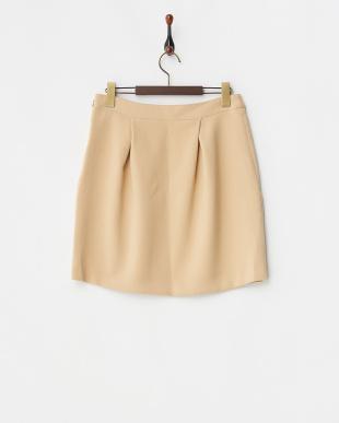 ベージュ ダブルクロスタックコクーンスカート見る