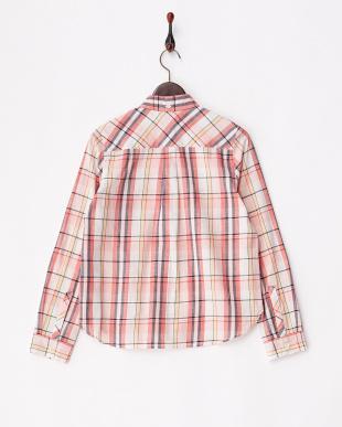 ピンク系 マドラスチェックボタンダウンシャツ見る