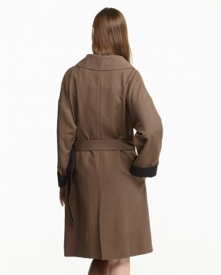 ブラウン  コットン混オックス一重ベルテッド配色コート見る